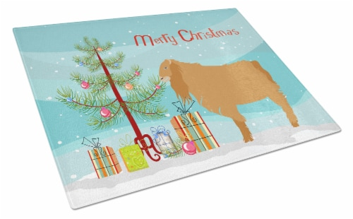 American Lamancha Goat Christmas Glass Cutting Board Large Perspective: front