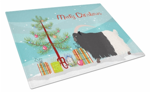 Welsh Black-Necked Goat Christmas Glass Cutting Board Large Perspective: front