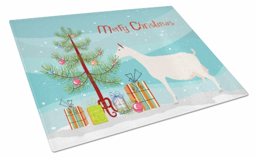 Carolines Treasures  BB9256LCB Saanen Goat Christmas Glass Cutting Board Large Perspective: front