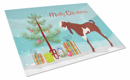 Jamnapari Goat Christmas Glass Cutting Board Large Perspective: front