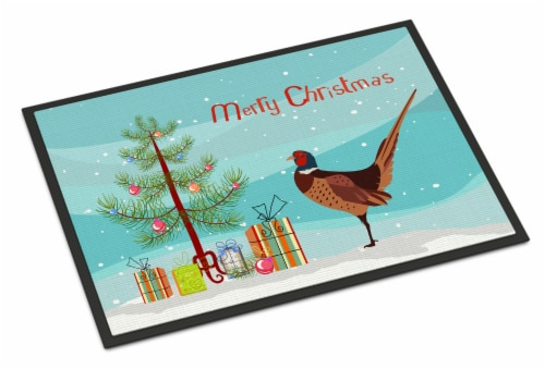 Ring-necked Common Pheasant Christmas Indoor or Outdoor Mat 18x27 Perspective: front