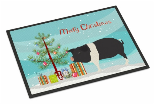 Hampshire Pig Christmas Indoor or Outdoor Mat 18x27 Perspective: front