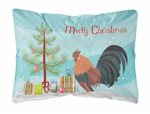 Dutch Bantam Chicken Christmas Canvas Fabric Decorative Pillow Perspective: front