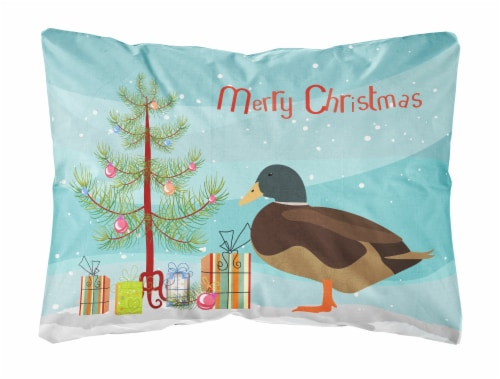 Silver Bantam Duck Christmas Canvas Fabric Decorative Pillow Perspective: front