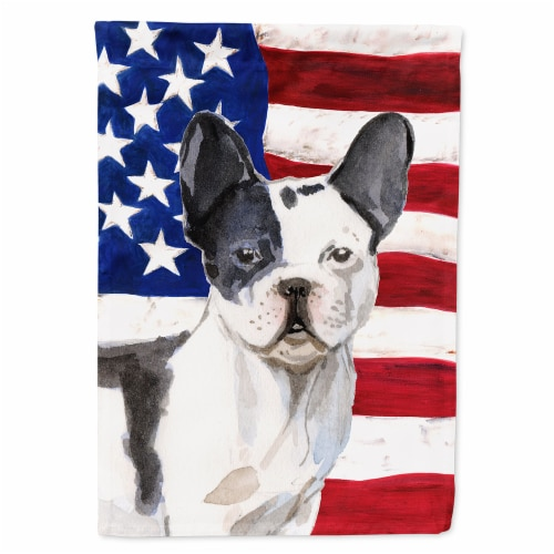 Black White French Bulldog Patriotic Flag Garden Size Perspective: front