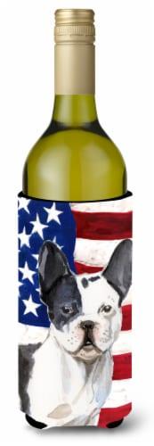 Black White French Bulldog Patriotic Wine Bottle Beverge Insulator Hugger Perspective: front