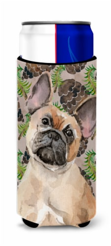 Fawn French Bulldog Pine Cones Michelob Ultra Hugger for slim cans Perspective: front