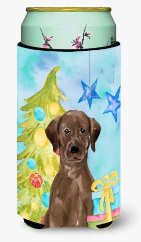 Chocolate Labrador Christmas Tall Boy Beverage Insulator Hugger Perspective: front