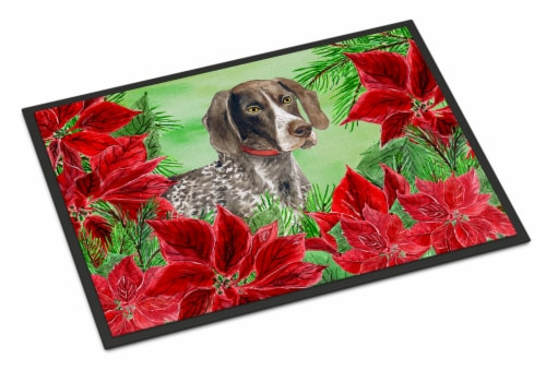 German Shorthaired Pointer Poinsettas Indoor or Outdoor Mat 24x36 Perspective: front