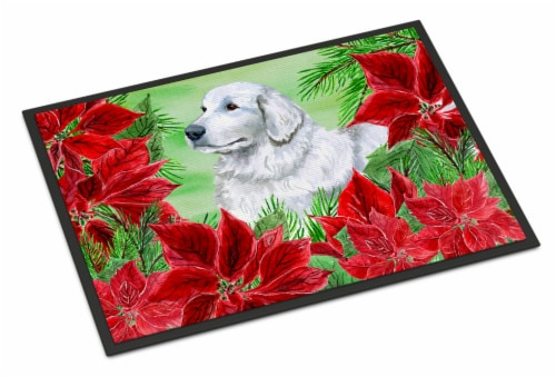 Maremma Sheepdog Poinsettas Indoor or Outdoor Mat 18x27 Perspective: front