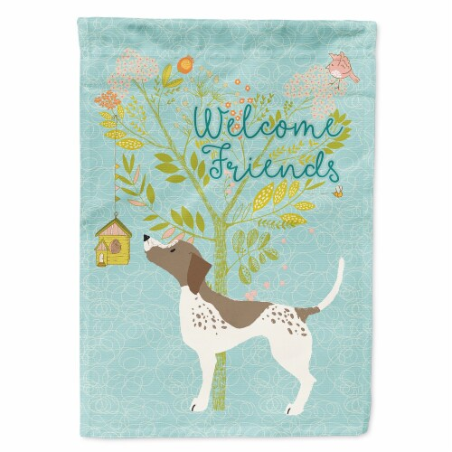 Carolines Treasures  BB7593CHF Welcome Friends Gun Dog Flag Canvas House Size Perspective: front