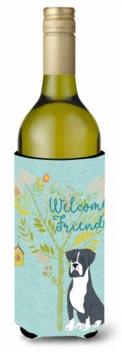 Welcome Friends Black Boxer Wine Bottle Beverge Insulator Hugger Perspective: front