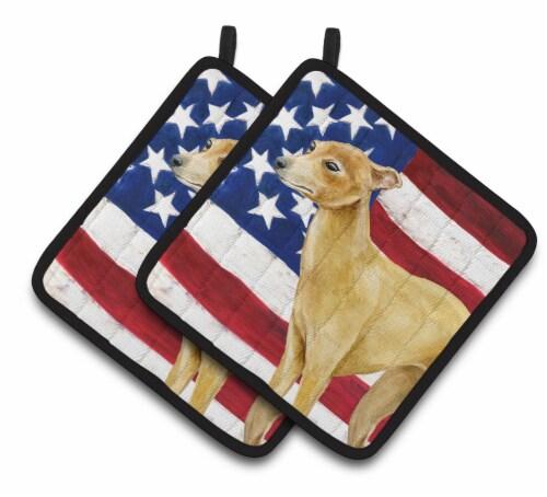 Carolines Treasures  BB9698PTHD Italian Greyhound Patriotic Pair of Pot Holders Perspective: front