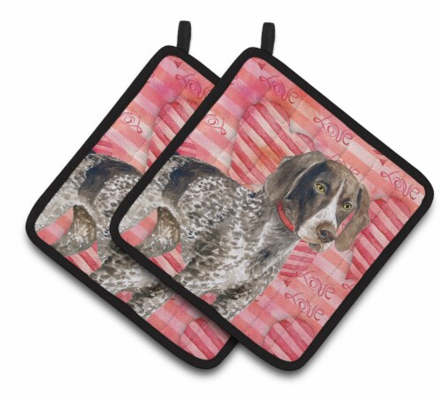 German Shorthaired Pointer Love Pair of Pot Holders Perspective: front