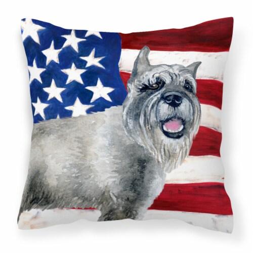 Carolines Treasures  BB9662PW1414 Schnauzer Patriotic Fabric Decorative Pillow Perspective: front