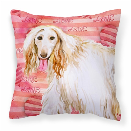 Carolines Treasures  BB9789PW1414 Afghan Hound Love Fabric Decorative Pillow Perspective: front