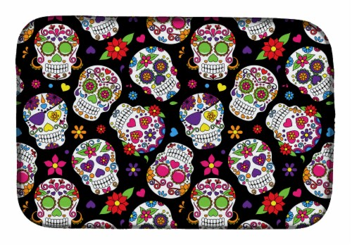 Carolines Treasures  BB5116DDM Day of the Dead Black Dish Drying Mat Perspective: front