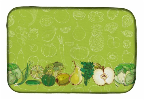 Carolines Treasures  BB5135DDM Fruits and Vegetables in Green Dish Drying Mat Perspective: front
