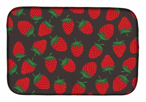 Carolines Treasures  BB5137DDM Strawberries on Gray Dish Drying Mat Perspective: front