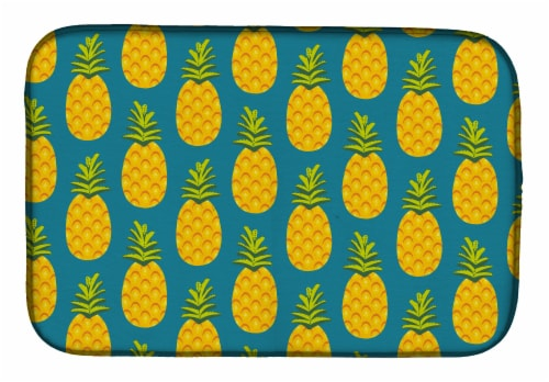 Carolines Treasures  BB5145DDM Pineapples on Teal Dish Drying Mat Perspective: front