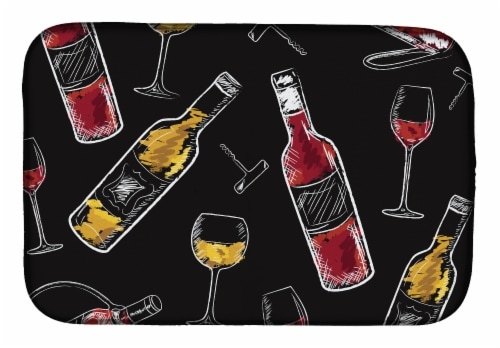 Carolines Treasures  BB5197DDM Red and White Wine on Black Dish Drying Mat Perspective: front