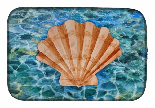 Carolines Treasures  BB5367DDM Scallop Shell and Water Dish Drying Mat Perspective: front