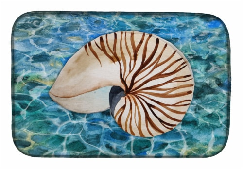Carolines Treasures  BB5368DDM Sea Shell and Water Dish Drying Mat Perspective: front