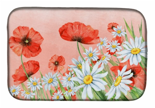 Carolines Treasures  BB7448DDM Poppies and Chamomiles Dish Drying Mat Perspective: front