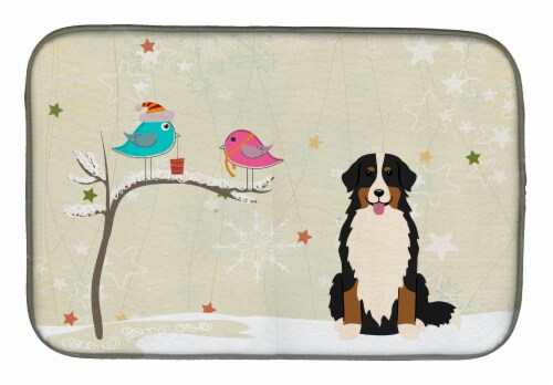 Christmas Presents between Friends Bernese Mountain Dog Dish Drying Mat Perspective: front