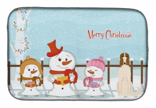 Carolines Treasures  BB2354DDM Merry Christmas Carolers Borzoi Dish Drying Mat Perspective: front