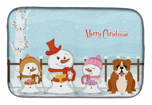 Merry Christmas Carolers English Bulldog Red White Dish Drying Mat Perspective: front