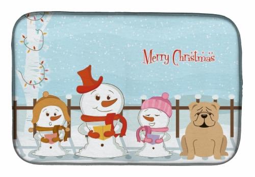 Merry Christmas Carolers English Bulldog Fawn Dish Drying Mat Perspective: front