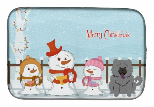 Merry Christmas Carolers Chow Chow Blue Dish Drying Mat Perspective: front