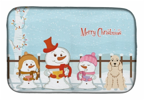 Merry Christmas Carolers Cocker Spaniel Buff Dish Drying Mat Perspective: front