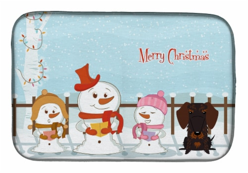Merry Christmas Carolers Wire Haired Dachshund Chocolate Dish Drying Mat Perspective: front
