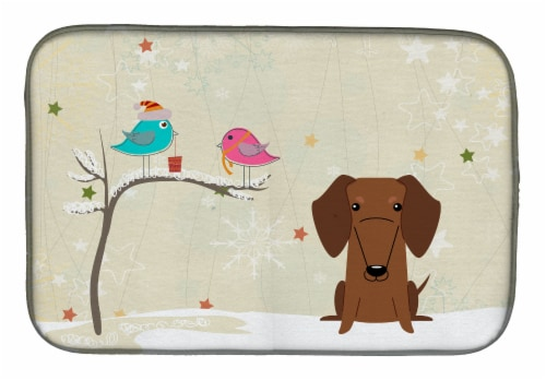 Christmas Presents between Friends Dachshund Red Brown Dish Drying Mat Perspective: front