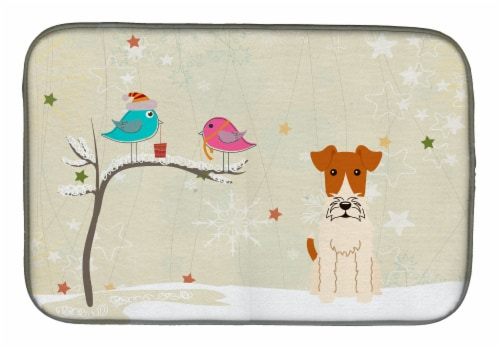 Christmas Presents between Friends Wire Fox Terrier Dish Drying Mat Perspective: front