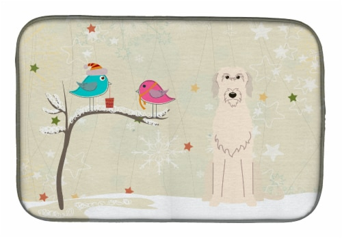 Christmas Presents between Friends Irish Wolfhound Dish Drying Mat Perspective: front