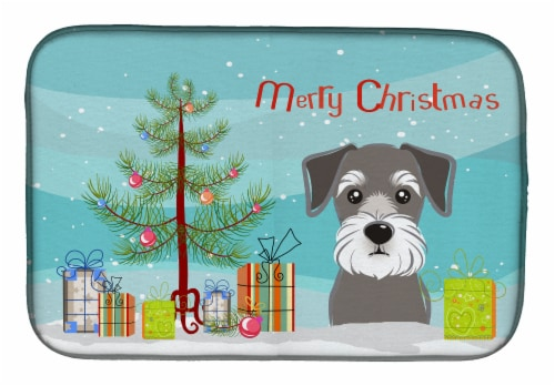 Carolines Treasures  BB1578DDM Christmas Tree and Schnauzer Dish Drying Mat Perspective: front