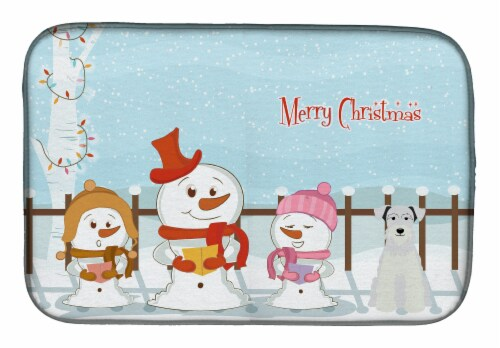 Merry Christmas Carolers Miniature Schanuzer White Dish Drying Mat Perspective: front