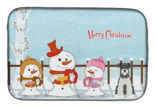 Merry Christmas Carolers Miniature Schanuzer Salt and Pepper Dish Drying Mat Perspective: front