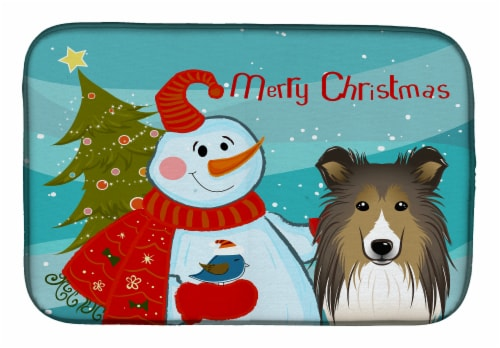 Carolines Treasures  BB1862DDM Snowman with Sheltie Dish Drying Mat Perspective: front