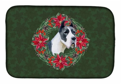 Harlequin Great Dane Poinsetta Wreath Dish Drying Mat Perspective: front