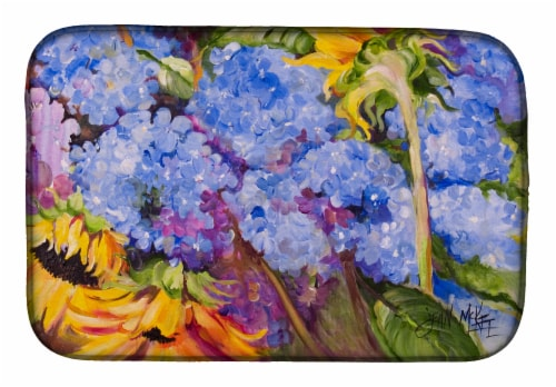 Carolines Treasures  JMK1119DDM Hydrangeas and Sunflowers Dish Drying Mat Perspective: front