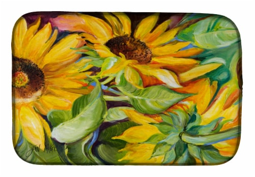 Carolines Treasures  JMK1122DDM Sunflowers Dish Drying Mat Perspective: front