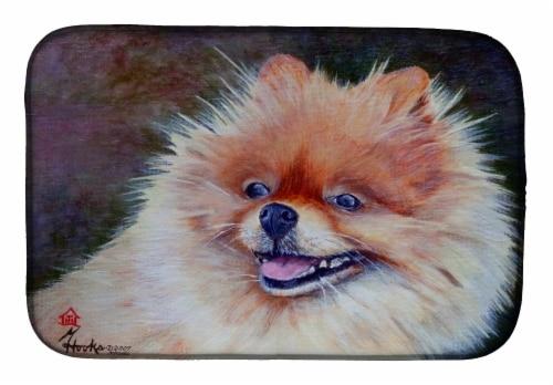 Carolines Treasures  MH1056DDM Pomeranian Head Dish Drying Mat Perspective: front