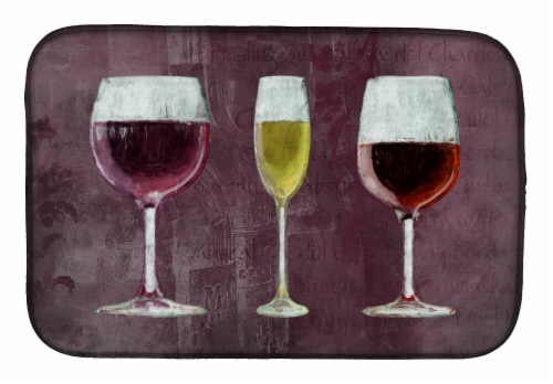 Carolines Treasures  SB3073DDM Three Glasses of Wine Purple Dish Drying Mat Perspective: front