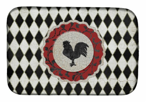 Carolines Treasures  SB3086DDM Rooster Harlequin Black and white Dish Drying Mat Perspective: front