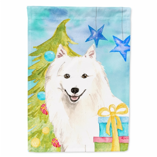 Christmas Tree Japanese Spitz Flag Canvas House Size Perspective: front