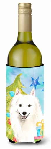 Christmas Tree Japanese Spitz Wine Bottle Beverge Insulator Hugger Perspective: front